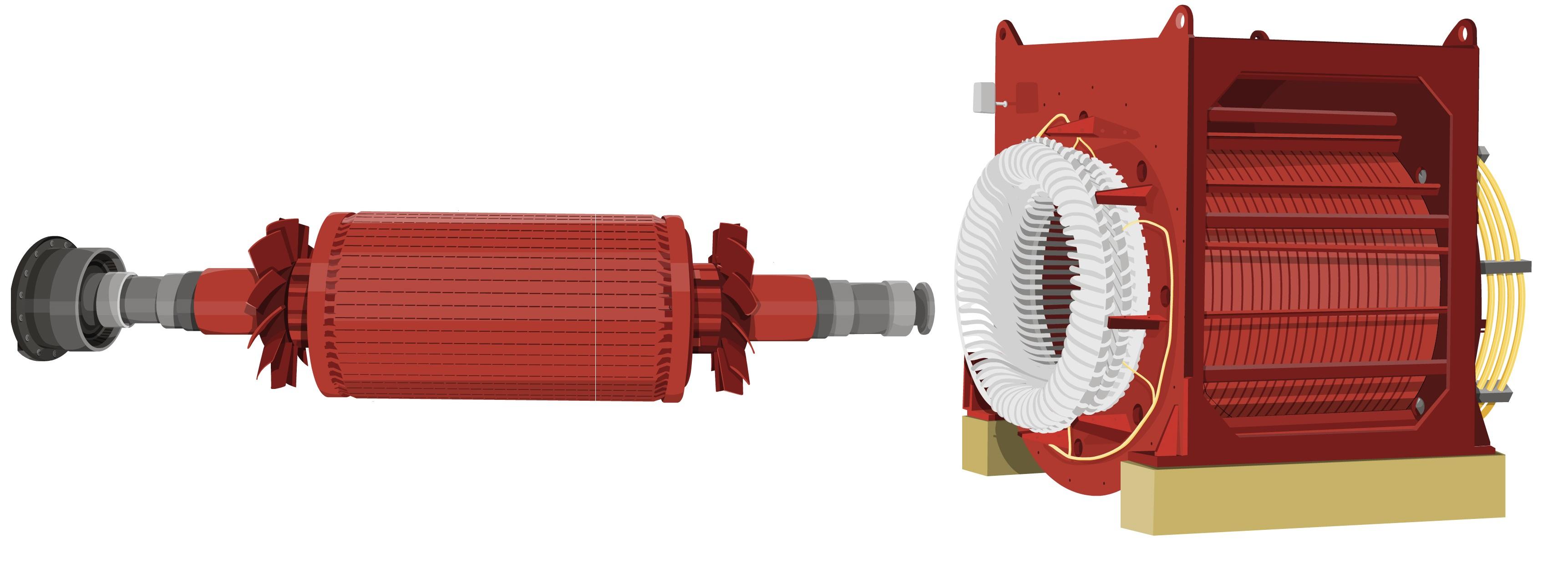 rotor y estator de un generador